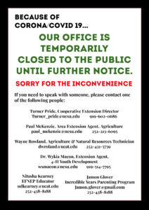 Cover photo for N. C. Cooperative Extension - Vance County Center Closed to Public