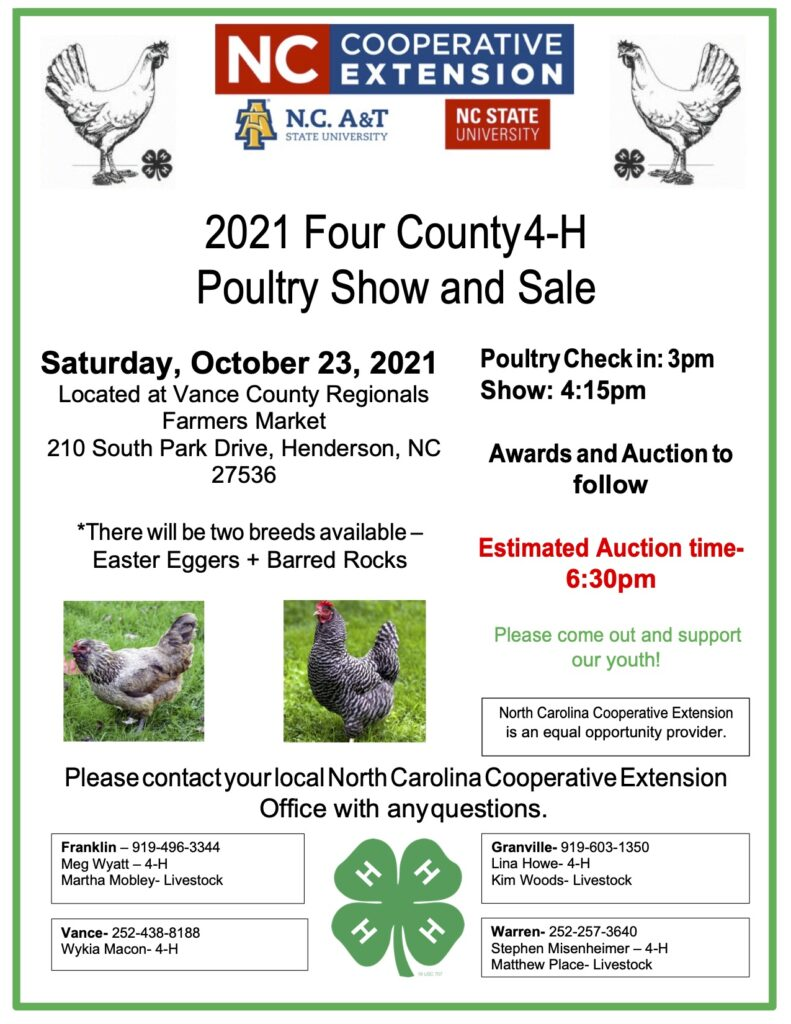 Four County 4-H Poultry Show and Sale